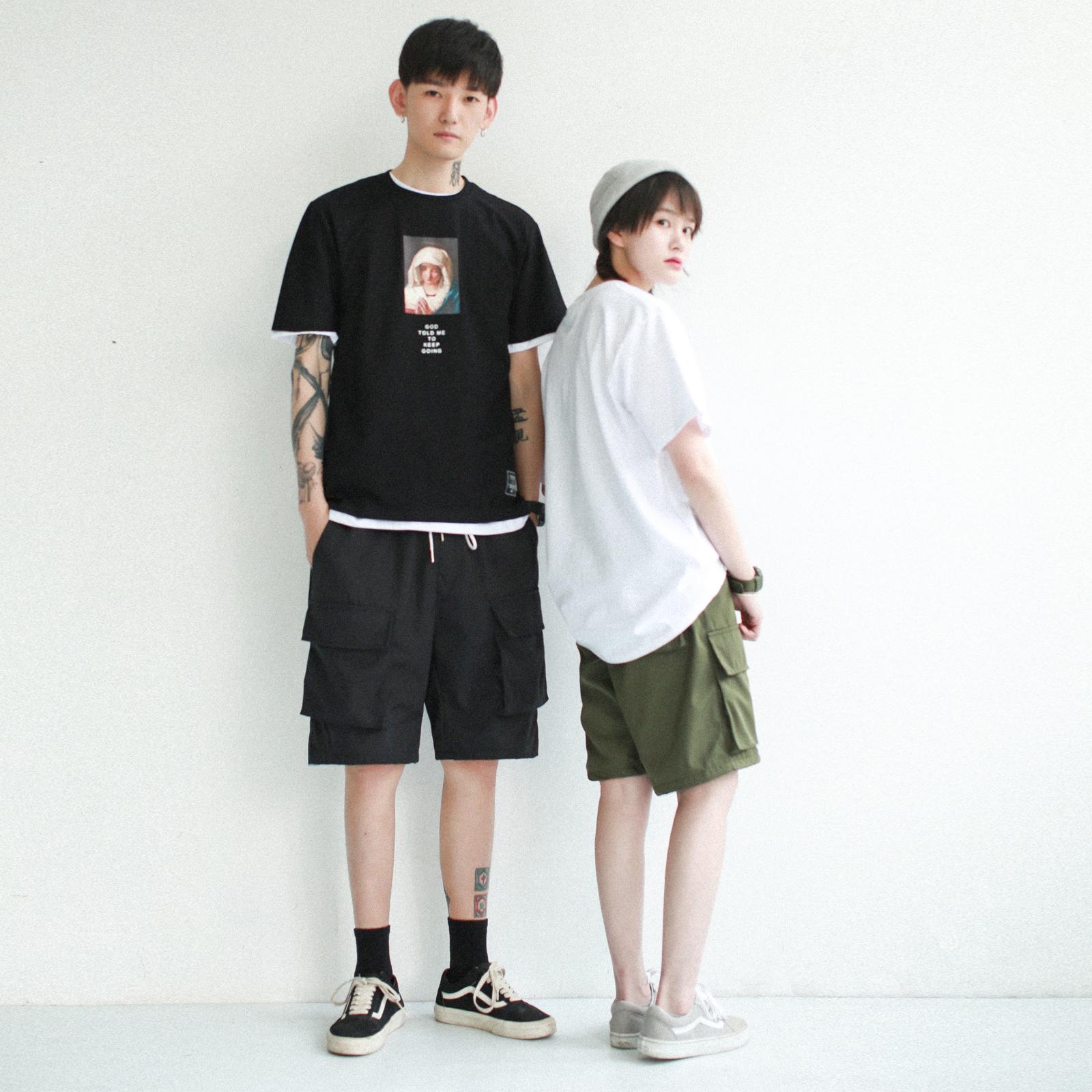 2018夏季新款日系bf风工装短裤女ins街头情侣宽松直筒休闲五分裤