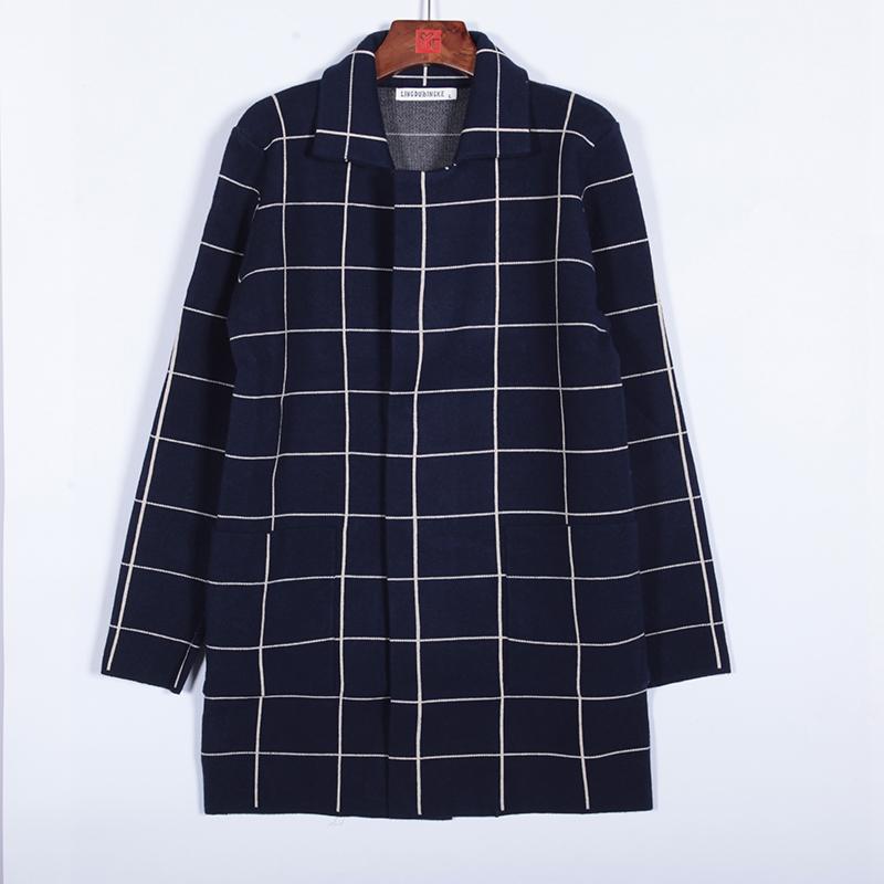 男士中长款针织开衫2019秋冬新款韩版百搭格子男装毛衣外套M22p38