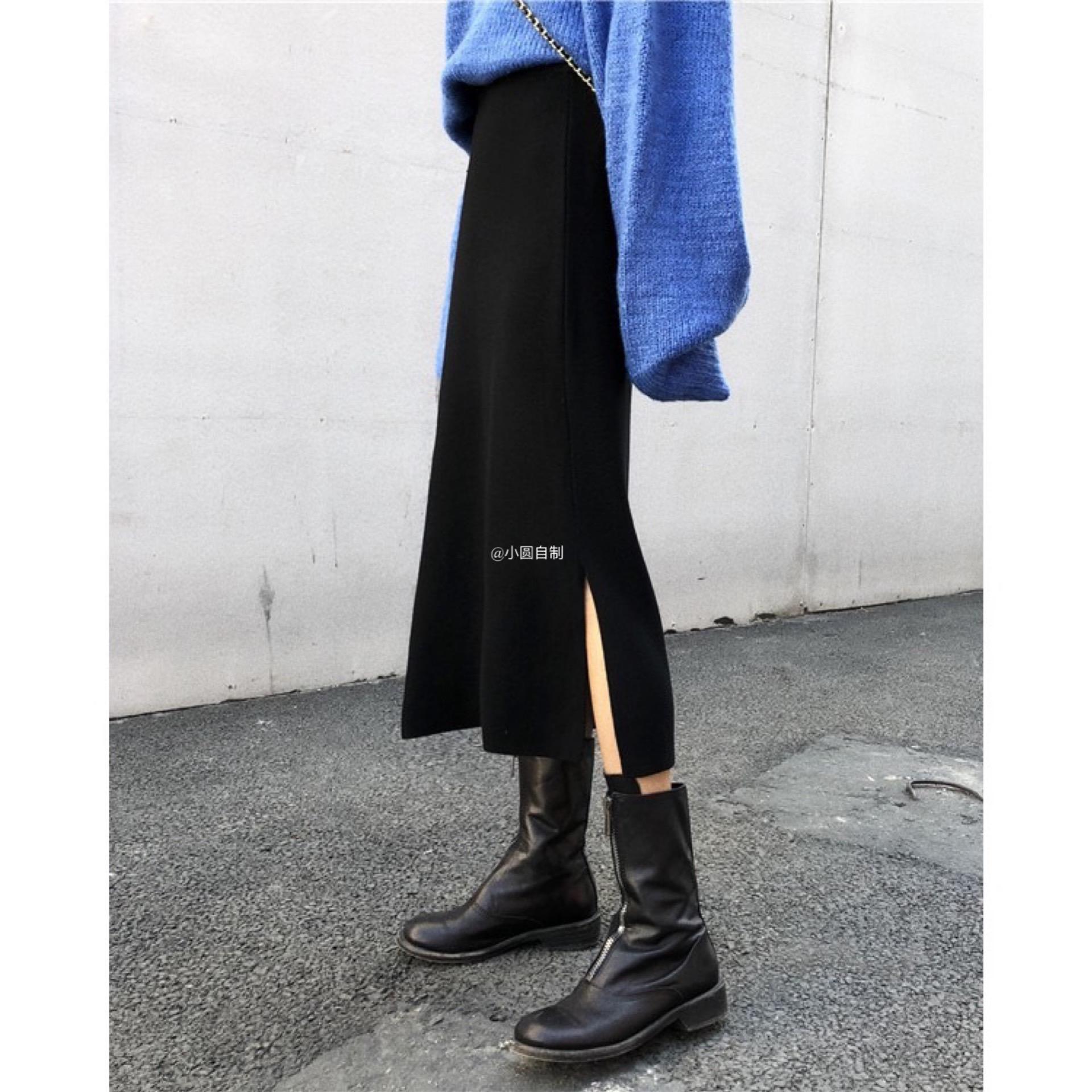 (用3元券)小圆自制秋冬新款韩国针织黑色长裙