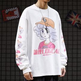 日系原宿风街头嘻哈街舞宽松服装潮牌oversize可爱卡通长袖T恤男图片