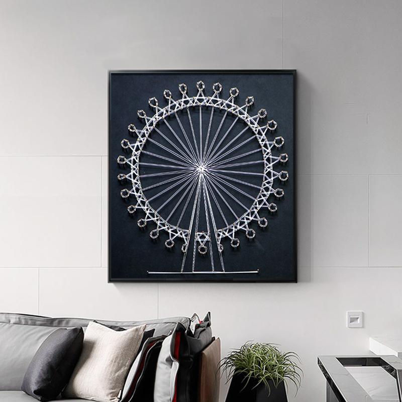 45.00元包邮北欧绕线画摩天轮卧室客厅装饰画