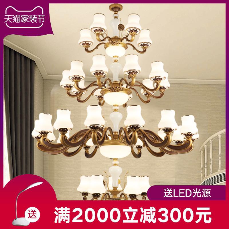 復式樓大吊燈奢華大氣歐式別墅客廳樓中樓中空三層五層樓梯長吊燈