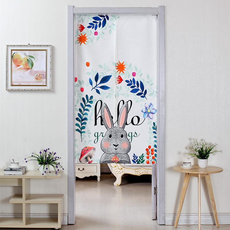 棉麻布艺门帘卧室厨房客厅隔断帘风水帘卫生间半帘卡通装饰挂帘子