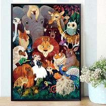 十字绣2019新款绣客厅竖版玄关儿童卡通动物世界卧室简单小幅线绣