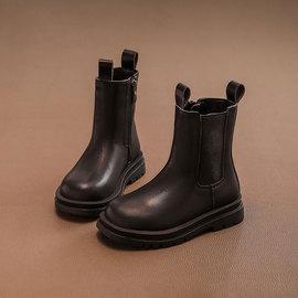 女童短靴真皮中大童2021新款烟筒靴英伦风秋冬加绒时尚软底单靴子