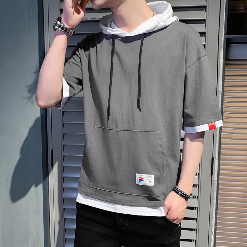 新款男装短袖T恤纯棉潮流ins连帽半袖卫衣夏季学生带帽子纯色帽衫