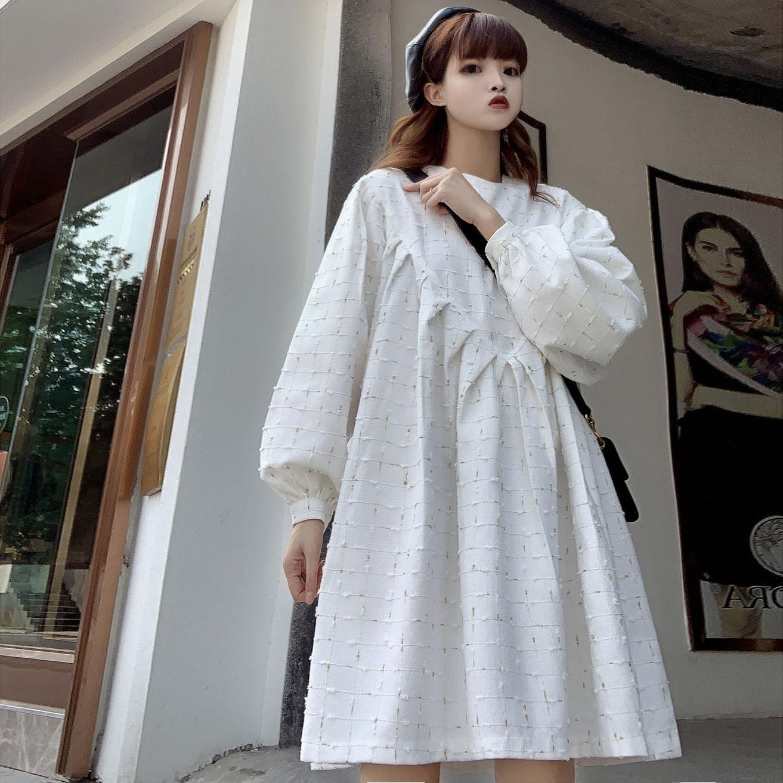 2019秋装连衣裙女韩版宽松娃娃裙小香风可爱减龄A字复古中长法式