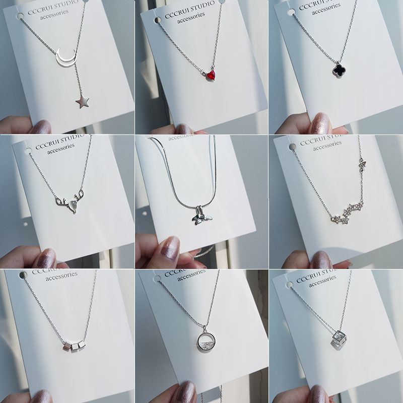 Necklace female clavicle chain Student Korean version simple pearl pendant clover neck ornament collar neck chain jewelry