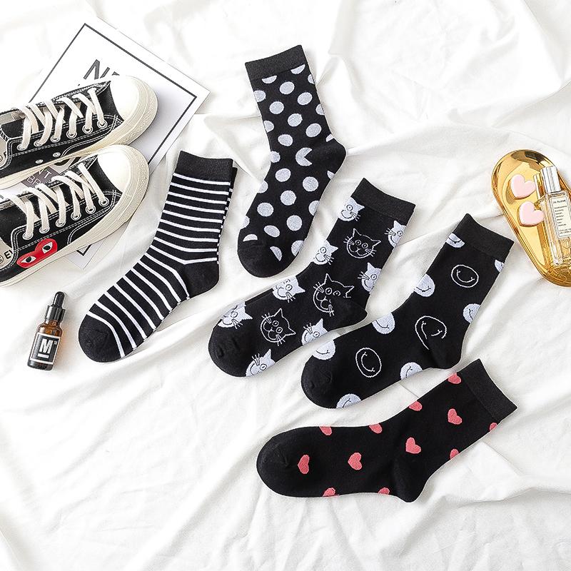 (用38.02元券)黑色袜子女韩版ulzzang中筒袜ins潮学院风可爱日系春秋薄款长筒袜