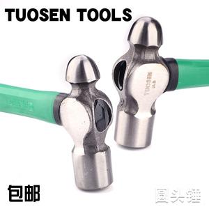 拓森五金工具锤子锤头45钢包塑纤维柄锤不掉头榔头1.5P2P圆头锤