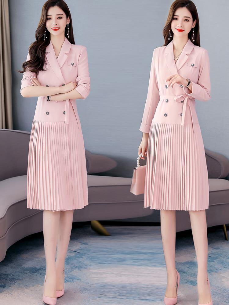西装连衣裙女中长款2020年秋装新款小香风气质收腰法式显瘦裙子潮