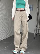 春秋韩版高腰修身牛仔褶皱拖地长裤大码胖mm老爹阔腿卡其色直筒裤