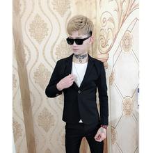 精神小伙小码西装160s码套装男韩版修身时尚发型师西装帅气外套潮