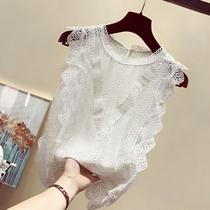 无袖白蕾丝上衣仙女衬衫2020夏新款韩版花边立领小清新背心雪纺衫