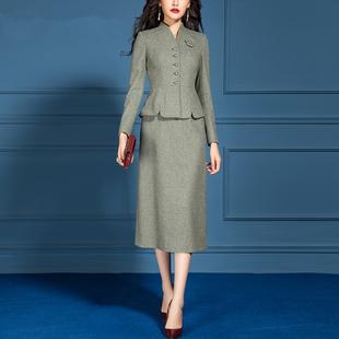 套装女2019新款早春秋气质名媛小香风绿色长袖毛呢套装裙子两件套