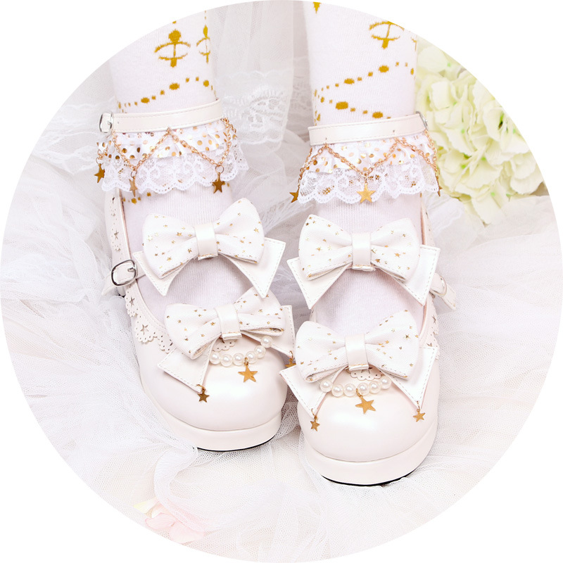 Old Dong aristocratic family can look like stars Lolita Lolita bowknot Japanese middle heel girl single shoe factory
