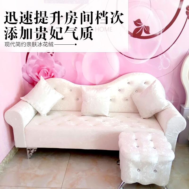 简约欧式布艺沙发卧室双人沙发店铺单人三人小户型组合沙发贵妃椅
