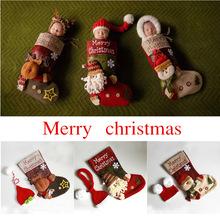 新生儿摄影圣诞老人主题拍照睡袋袜子摄影圣诞套装圣诞主题睡袋
