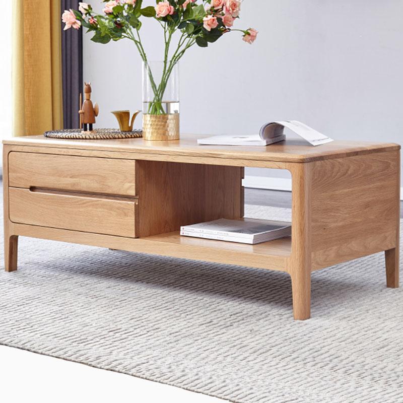 实木茶几北欧橡木1米茶桌现代简约客厅1.35m小户型家用原木咖啡桌