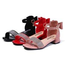 女童凉鞋小跟2019新款小女孩时尚洋气水钻公主鞋夏季中大童儿童鞋