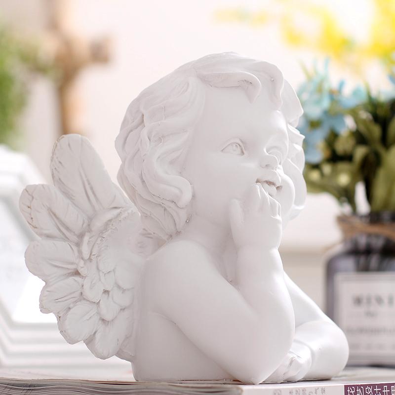小天使摆件装饰带翅膀欧式客厅女孩雕刻复古工艺品简约现代树脂