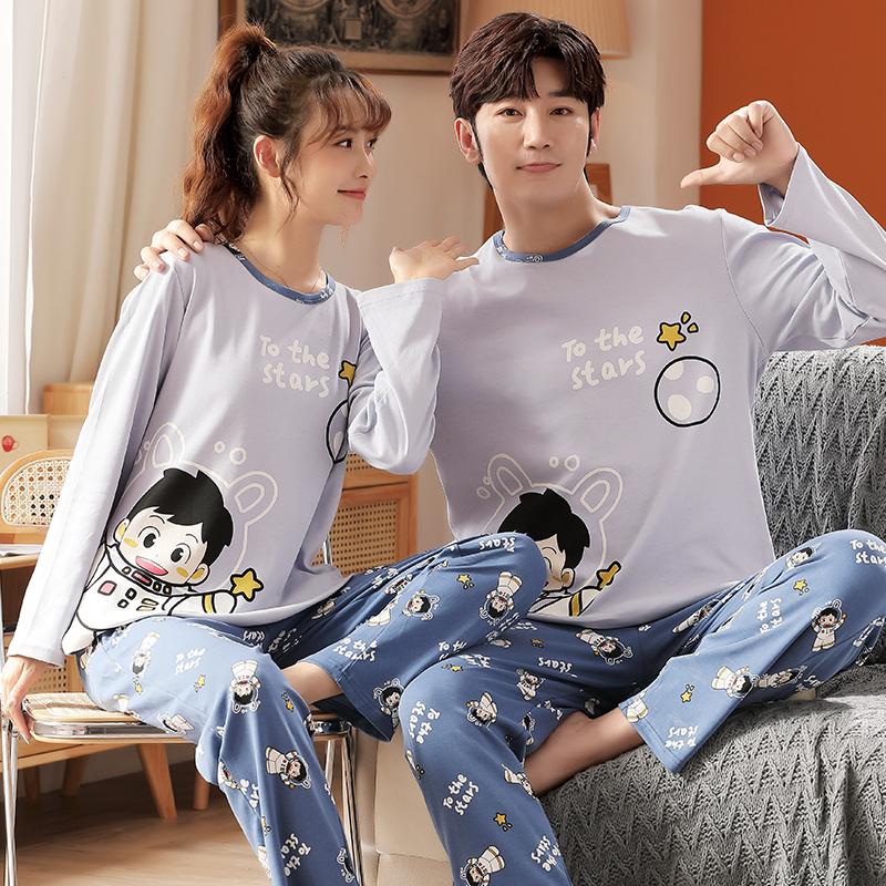 Couple pajamas winter couple mens big boys cute fat girls autumn womens casual mens pure cotton home clothes