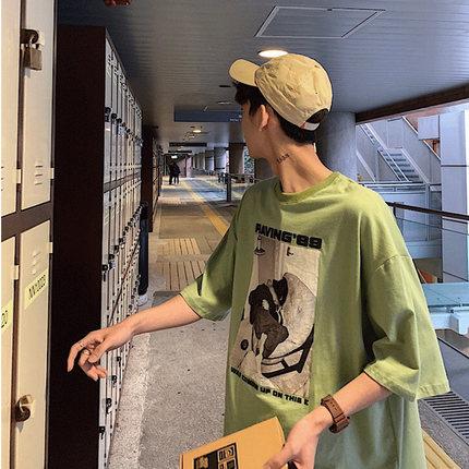 短袖男潮牌潮流夏季体恤衫宽松半袖丅恤港风绿色男装上衣印花T恤