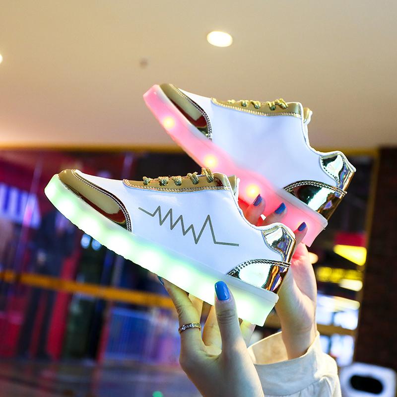充电发光鞋鬼步鞋男女荧光运动鞋