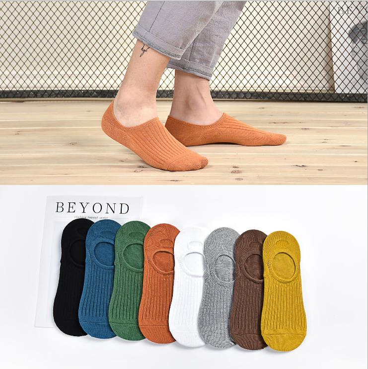 Socks mens boat socks spring and summer thin cotton socks silicone antiskid shallow mouth sweat absorption invisible Korean couple