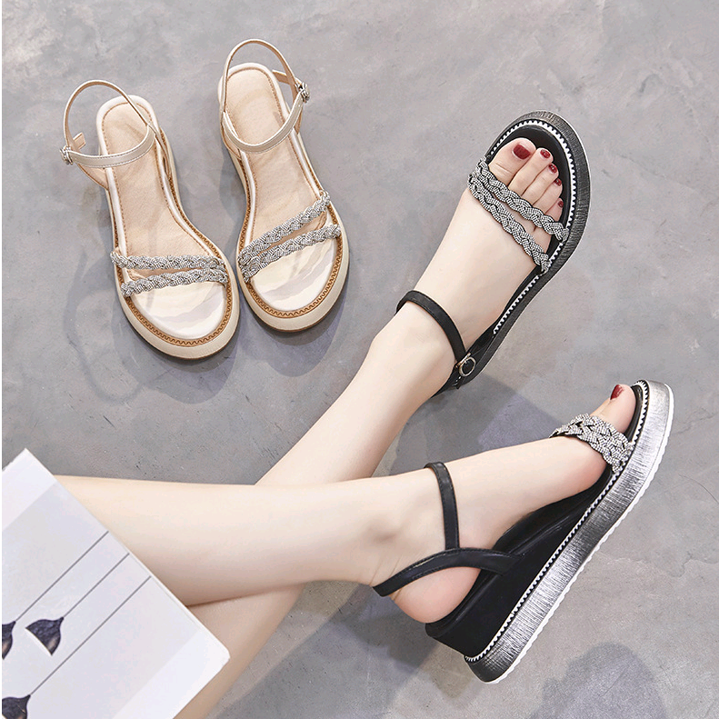 2021 summer new thick bottomed diamond sandals womens slope heel muffin Roman shoes 32 33 small versatile fairy style