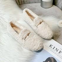 毛毛鞋女冬外穿2020新款百搭羊羔毛豆豆鞋加绒厚底大码女鞋41一43