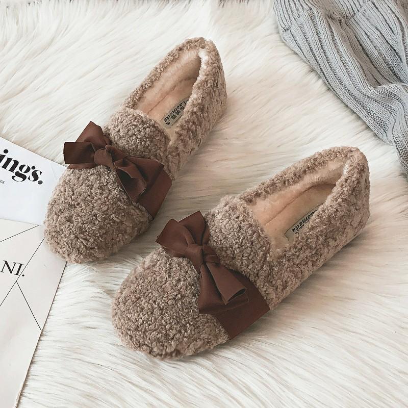 毛毛鞋女冬外穿2019新款网红羊羔毛豆豆鞋加绒厚底棉鞋大码41-43