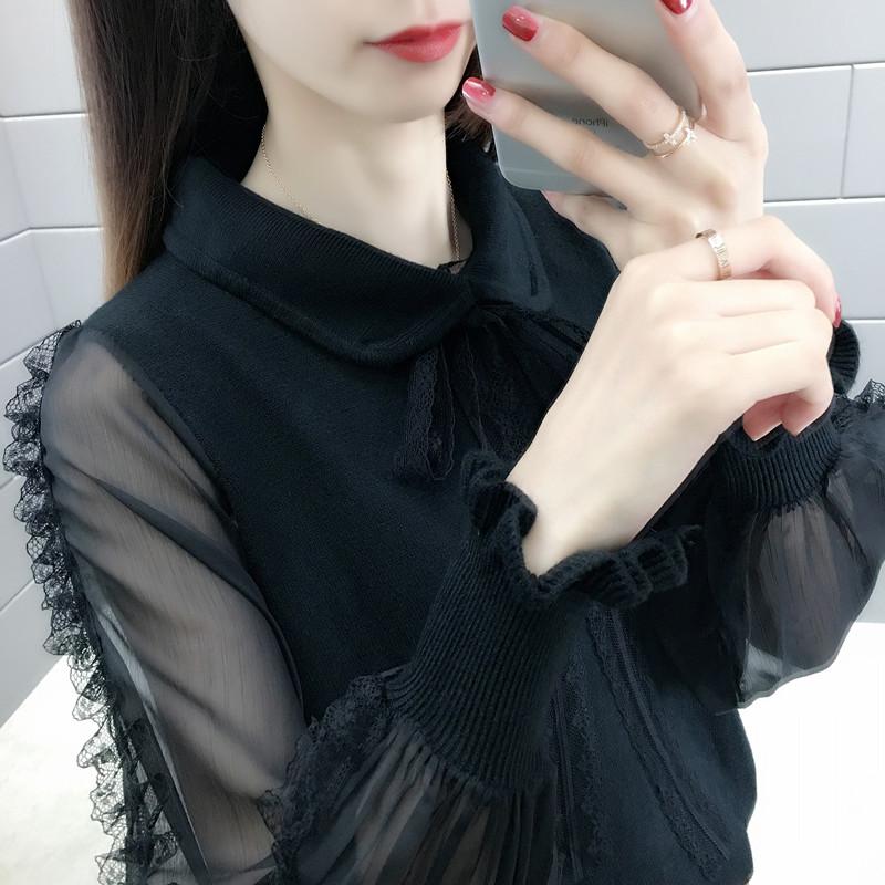 系带蕾丝袖薄款毛衣外套女洋气2019春装新款很仙的蝴蝶结雪纺衫潮