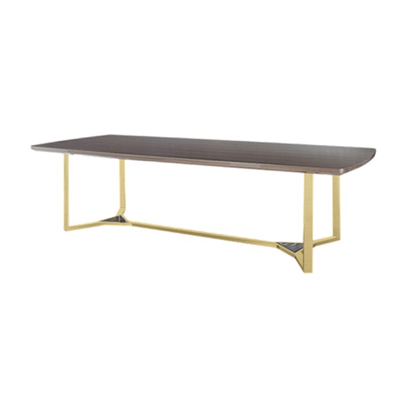 北欧简约不锈钢金属餐桌后现代大理石面实木餐台设计师款洽谈桌