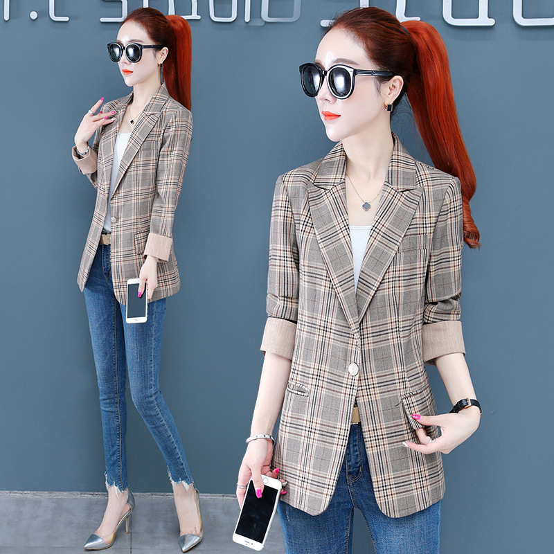 S4020767 temperament Plaid suit coat for womens fall 2020 new slim Lapel long sleeve single breasted suit