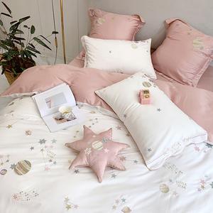 公主风星星刺绣纯棉60支长绒棉四件套少女心被套简约全棉床上用品