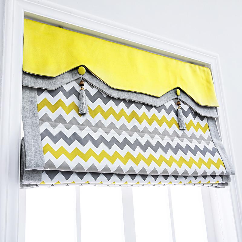 Yellow gray ripple Nordic style modern simple cloth shutter Roman curtain bedroom study small window lifting curtain