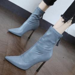 细跟瘦瘦马丁靴秋冬靴子女2020年新款韩版网红潮百搭薄款高跟短靴