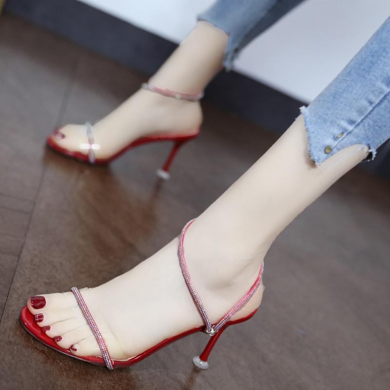 性感一字带搭配裙子的凉鞋女仙女风2019夏新款水钻网红细跟高跟鞋