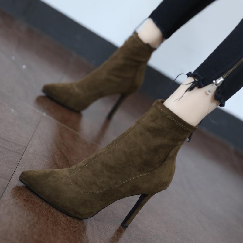 尖头高跟短靴女2019新款网红瘦瘦靴性感时尚百搭秋冬细跟马丁靴子