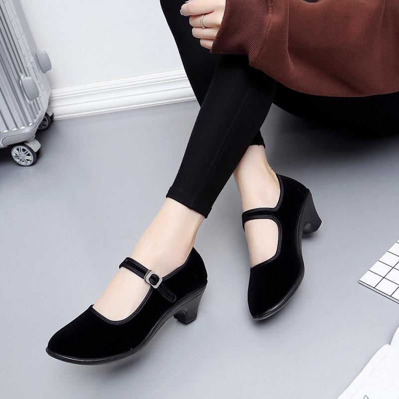 老北京布鞋女鞋獨跟工作鞋黑粗跟中跟單鞋黑色禮儀酒店廣場舞女鞋