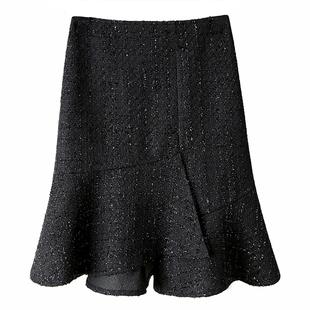 時尚毛呢魚尾裙女短裙2020秋冬新款大碼高腰顯瘦 a字不規則半身裙