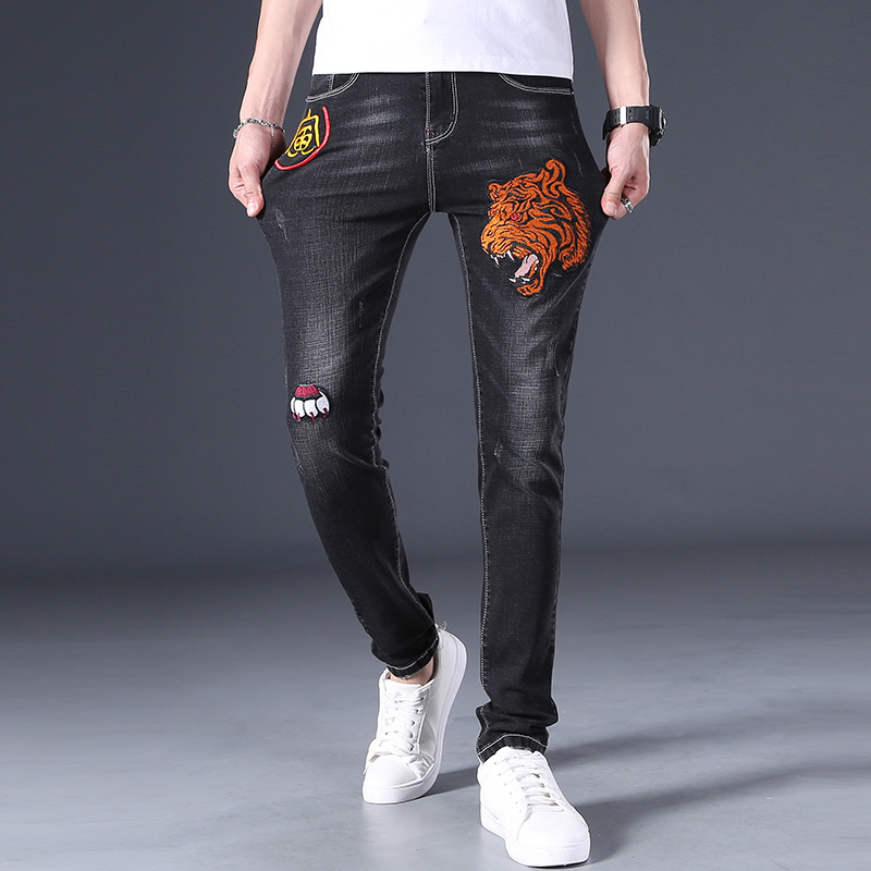Chinese Zodiac tiger high end embroidered jeans mens national style embroidery mens elastic jeans special fashion brand mens wear