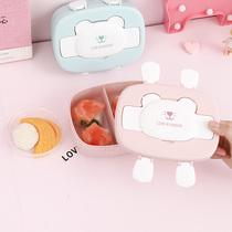 卡通儿童韩国便当盒可爱分格带盖餐饭盒小学生保鲜迷你便携水果盒