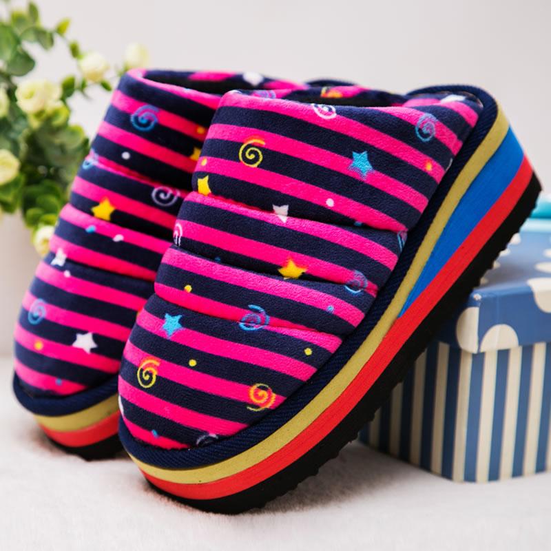 (用70元券)天天特价手工棉拖鞋厚底高跟男女情侣 居家保暖防滑冬天月子拖鞋