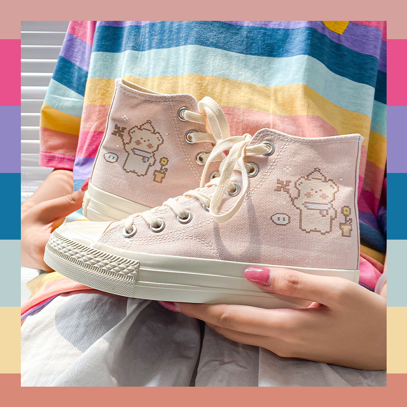 Good sauce nice Ruian factory broadcast high top canvas shoes source design printing hand-painted womens shoes