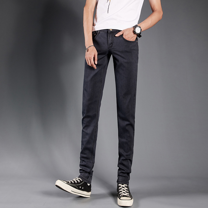 Smoke grey autumn and winter jeans mens thin elastic slim fit pants mens trousers