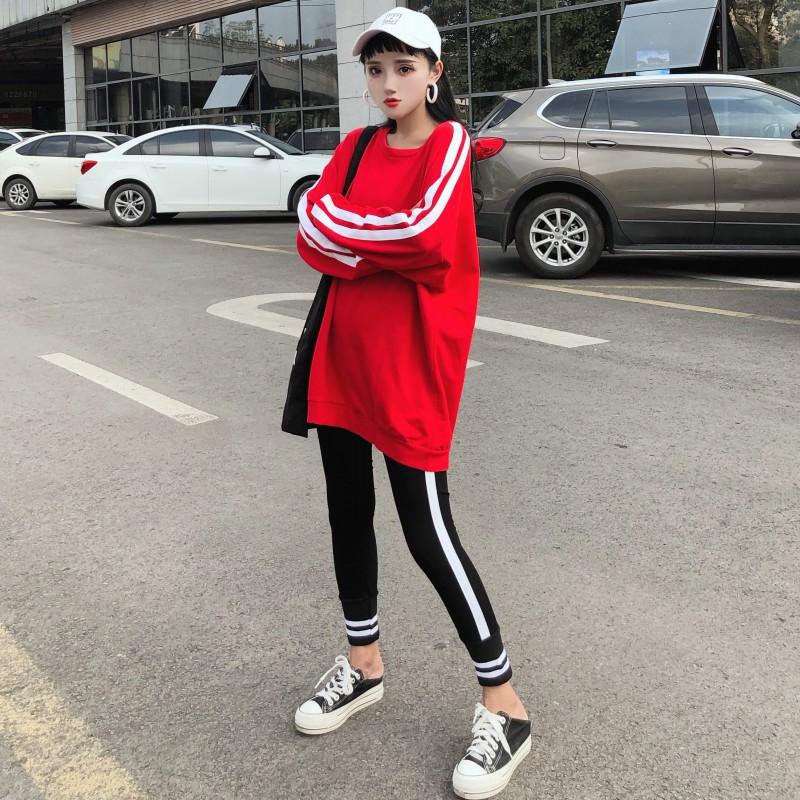 限8000张券秋季2019新款韩版佟年同款条纹红色长款薄款套头薄款宽松中卫衣女