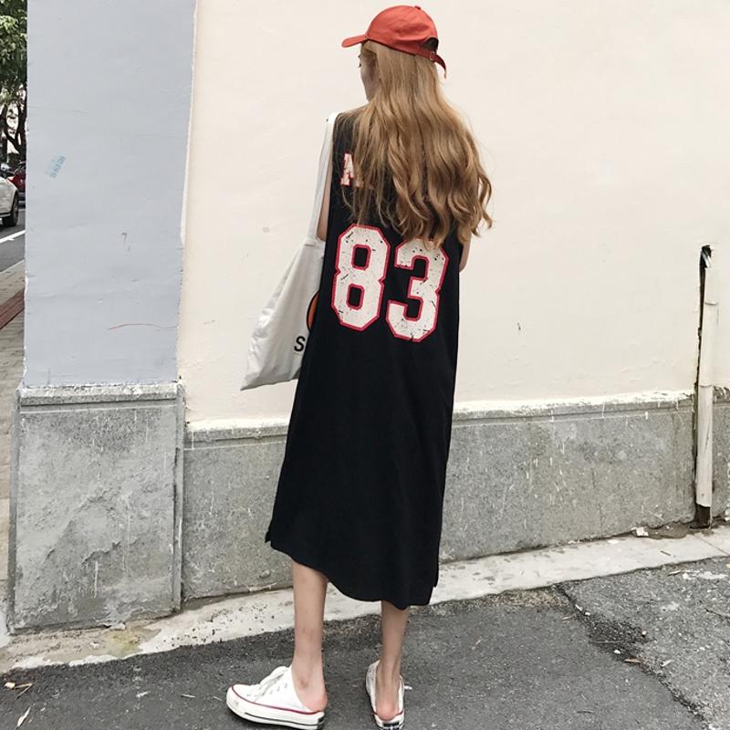 港风chic中长款数字印花连帽无袖连衣裙女夏装韩版休闲百搭T恤裙