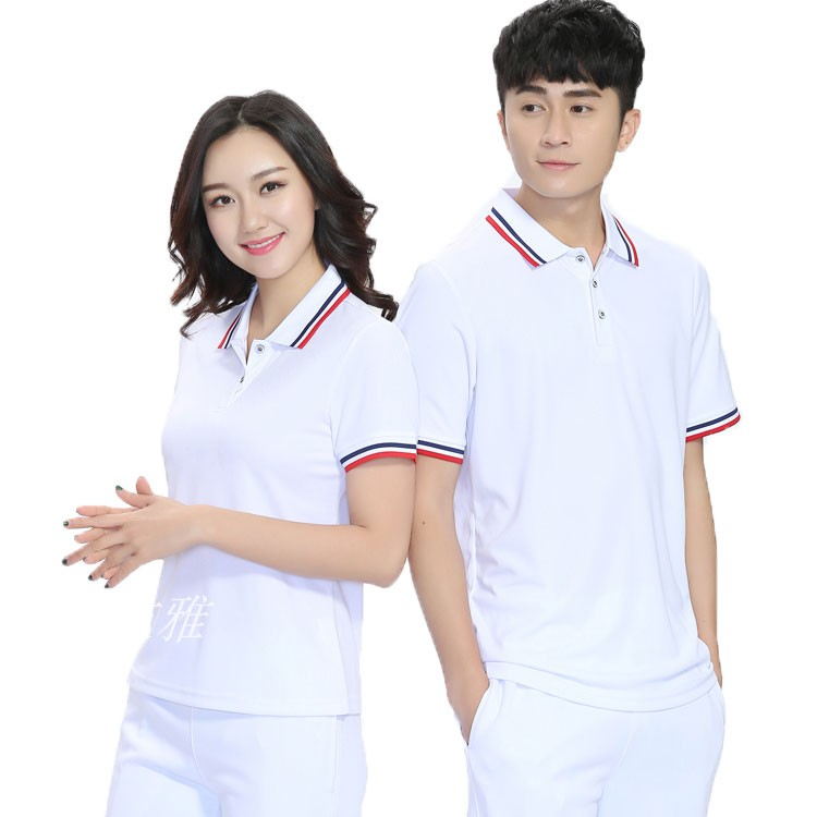 Summer couple sports solid color womens white short sleeve half sleeve mens and womens T-shirts quick drying loose advertising school uniform